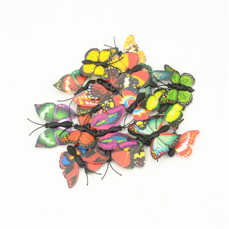 12 unids diy realista 3d pvc multicolor refrigerador de la mariposa pegatinas de