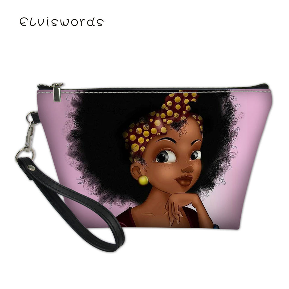 ELVISWORDS Fashion Female Cosmetic Bags African Girls Pattern Women Travel Make Up Bag Girls Small Organizer Toiletry Beautician in Cosmetic Bags Cases from Luggage Bags