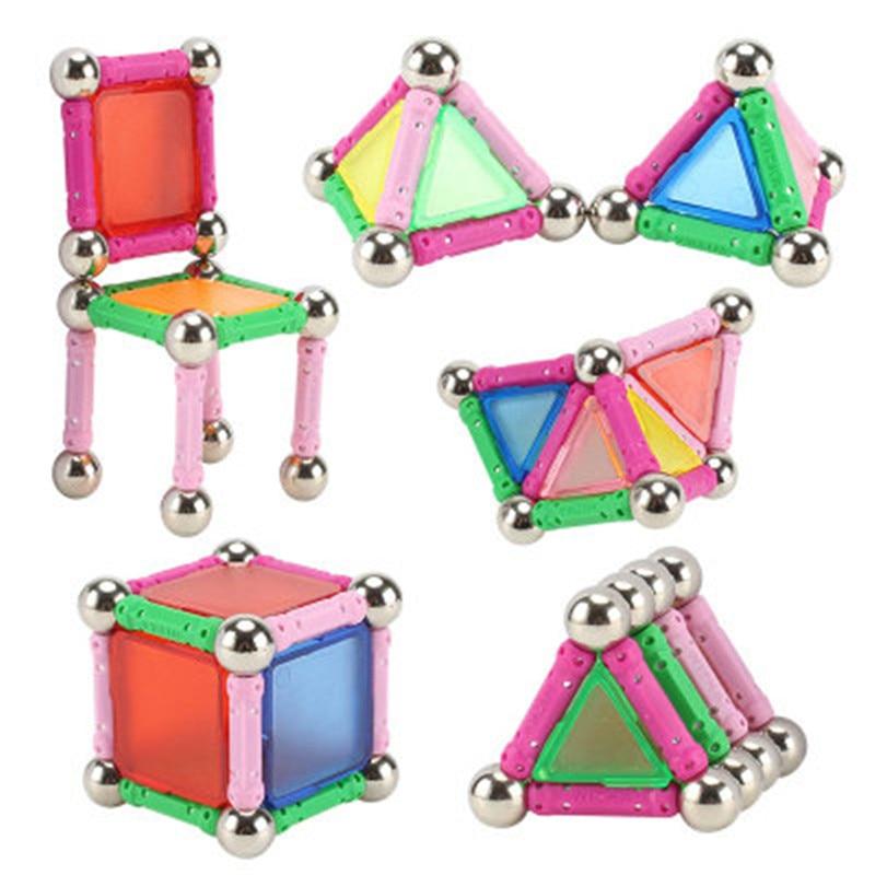 50 adet mıknatıs oyuncak barlar ve metal bilyalar manyetik yapı taşları İnşaat oyuncaklar çocuklar için DIY tasarımcı için eğitici oyuncaklar Ki