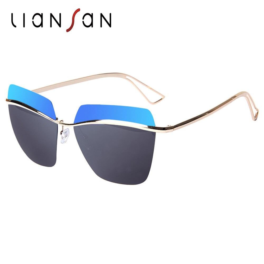 LianSan Cat Eye Vintage font b Polarized b font Female Sunglasses Women Gold Luxury Brand Designer