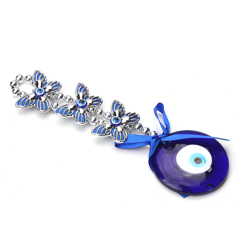 1pc 19cm Turkey Eye 60mm Glass Three Blue Butterfly Charms Pendant Jewelry Findings For Women Diy Home Decorations