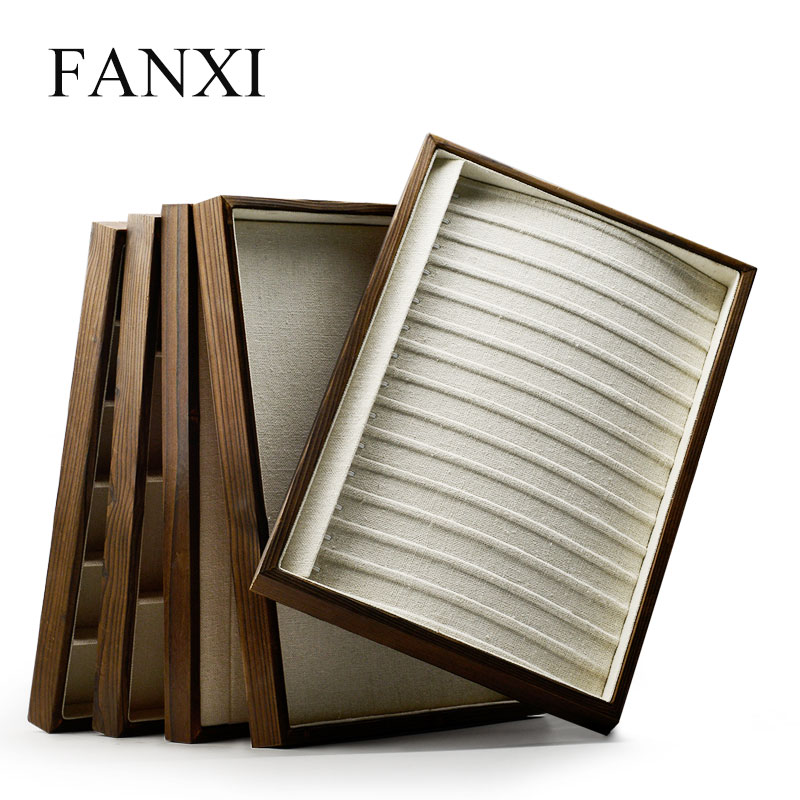 Fanxi Jewelry Display Tray With Linen Wood Ring Necklace Pendant Display Tray Dark Gray Jewelry Organizer Free Shipping