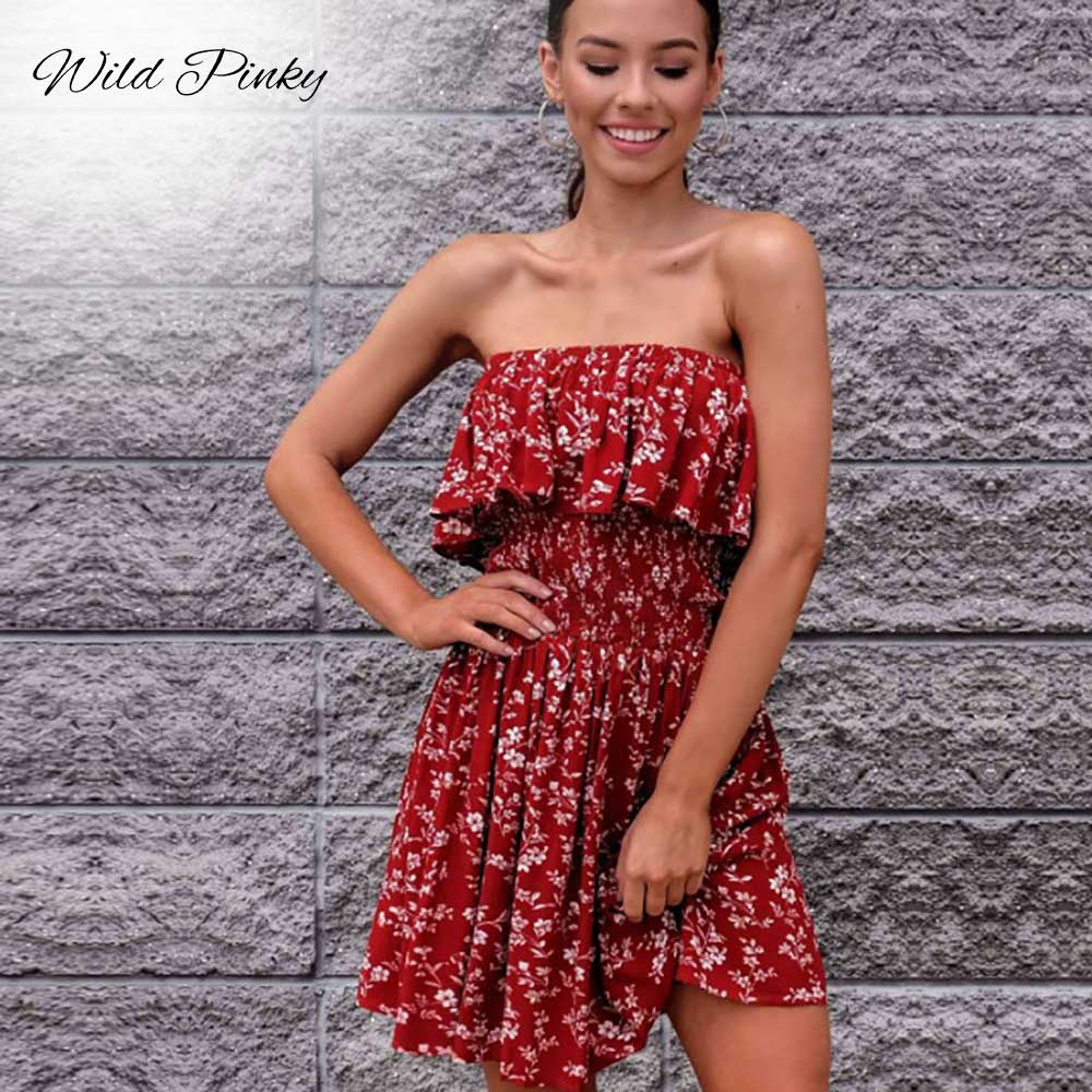 CUERLY Sexy Off Shoulder Strapless Dresses Women Summer Beach Boho Elegant Party Red Dress Ruffle Draped Print Dress Vestidos in Dresses from Women 39 s Clothing