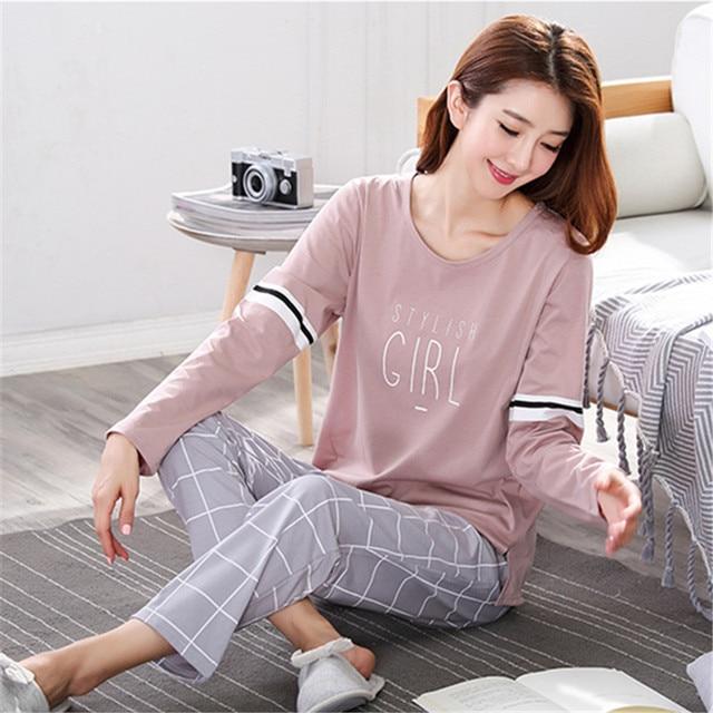 Pyjamas Frauen 2020 Herbst langarm Baumwolle Hause kleidung Frauen nacht anzug Zwei Stück plus größe Nachtwäsche Damen Pyjamas Set 5XL