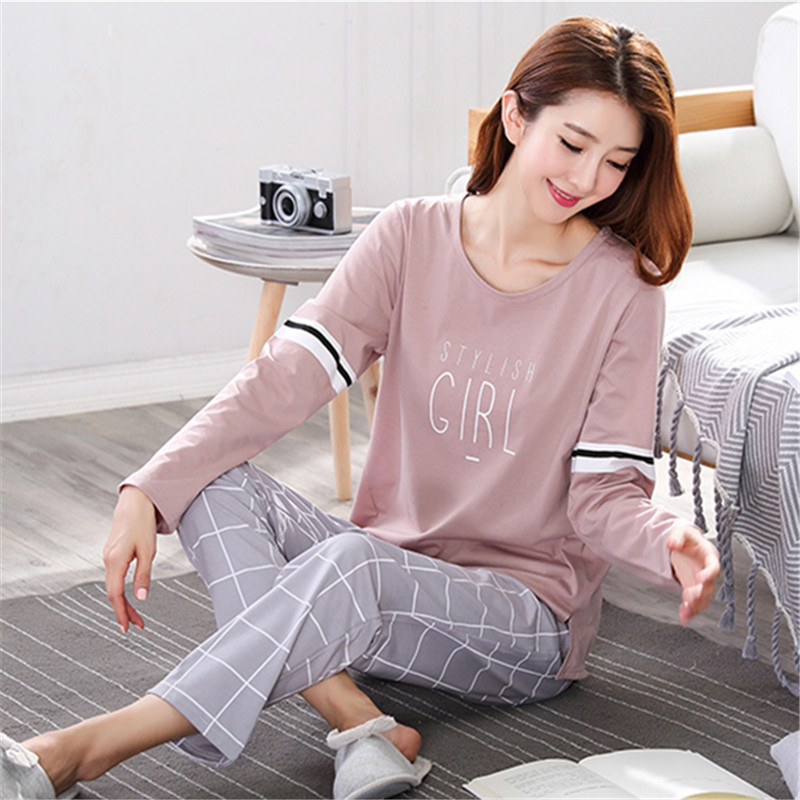 Pyjamas Women 2019 Autumn Long sleeve Cotton Home clothes Women night suit Two Piece plus size Sleepwear Ladies   Pajamas     Set   5XL