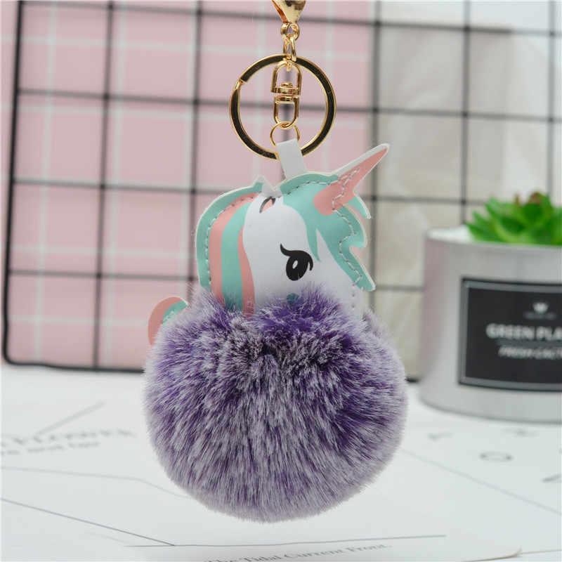 Hot Fluffy Unicorn Keychain Pendant Cute Pompom Artificial Rabbit Fur Key  Chain Bag Car Key Ring 2870f50c481bf