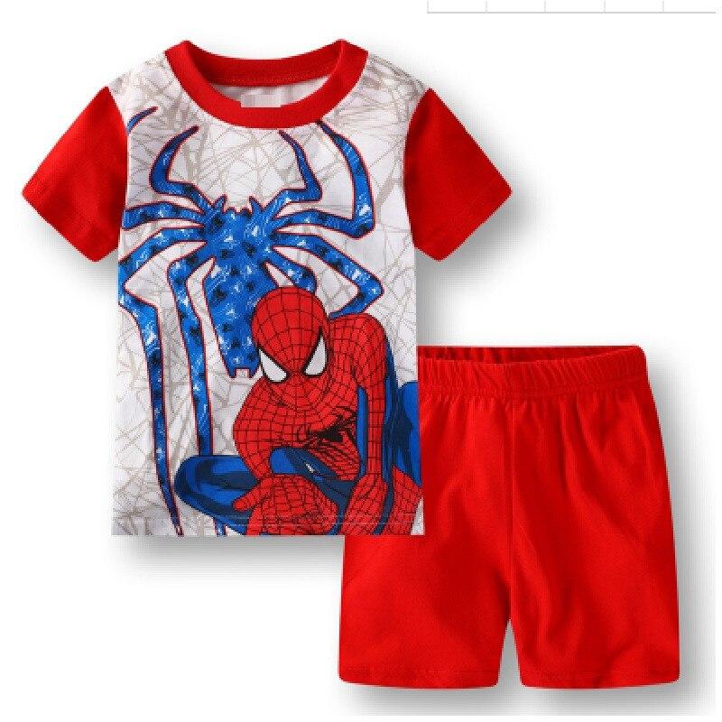 16 Kids Boys Girls Pajamas Cartoon Spider-Man Set Baby Sleepwear Cotton Superhero Costumes Shorts + Short Sleeve Tees Baby Clothing
