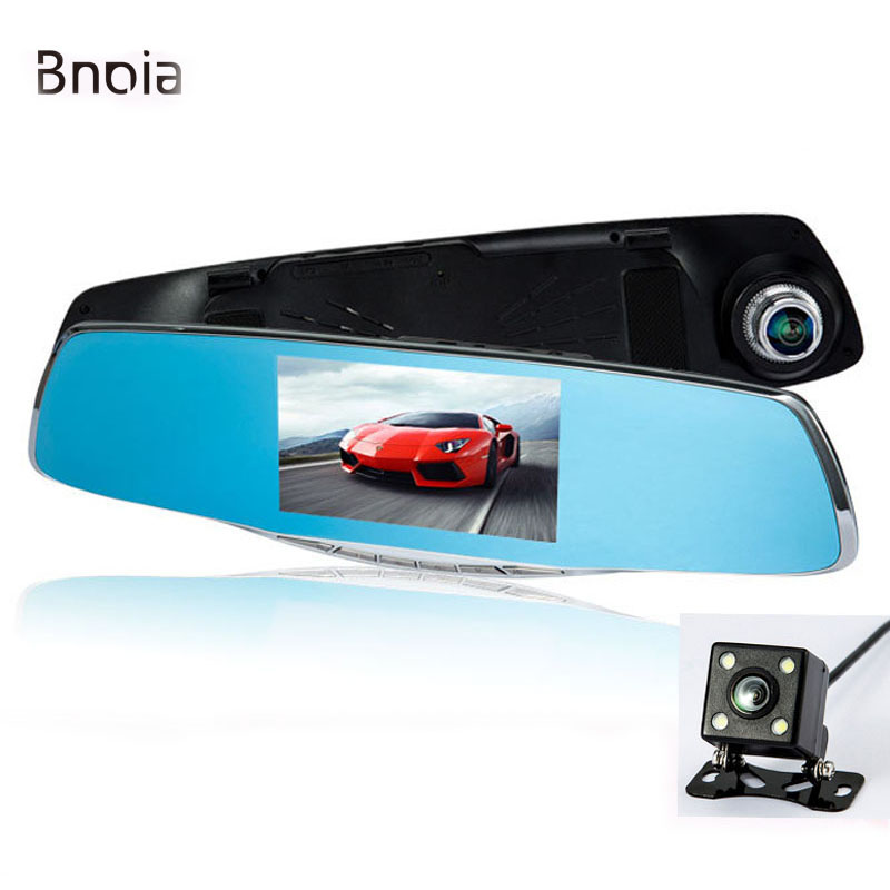 Car Dvr Camera 1080P 4 3 Inch Screen Car Camera Mirror with Rearview Dual Lens video