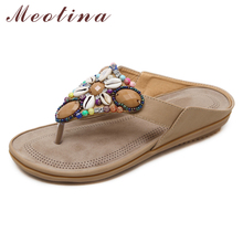 Купить с кэшбэком Meotina Flip Flops Shoes Women Crystal Flat with Sweet Slippers Flower Rhinestone Open Toe Sandals Female Summer Red Big Size 45