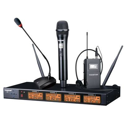 X4 4 Channel Wireless Microphone System Handheld / Desk Meeting / Bodypack Lavalier for your choice high end uhf 8x50 channel goose neck desk wireless conference microphones system for meeting room