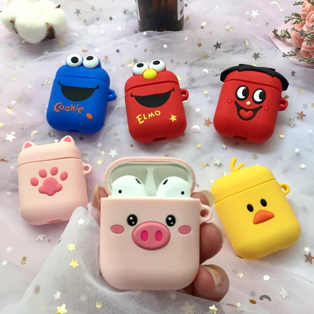 3D Cartoon Wireless Bluetooth Earphone Case For Apple AirPods Silicone Charging Headphones Cases For Airpods Protective Cover