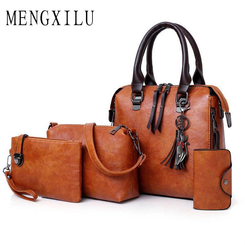 MENGXILU Brand Women Composite Bag Ladies Handbags Crossbody Bags 4Pcs/Sets Shoulder Handbags Purse High Quality Clutch Feminina все цены