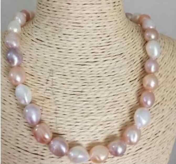 ジュエリー真珠 stunning 12-13 ミリメートル南洋バロックの多色真珠のネックレス 18 インチ 925 シルバー送料無料