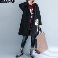 DIMANAF Plus Size Autumn Women Coats Cotton Pattern Print Jacket Casual Fashion Loose Female Oversize Cardigan Zipper Outerwear