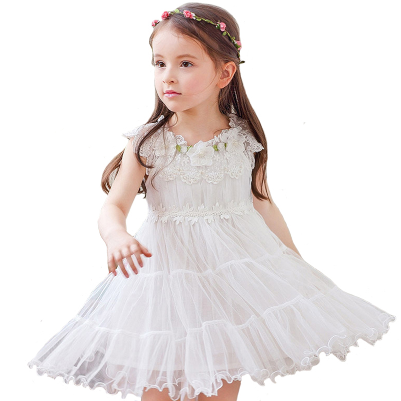 Summer Girls Princess Dress Baby Lace Sleeveless Layered Dress Double Layer Mesh Wedding Children Clothes for 4y-12y ws 2743 ladies fashionable double layer sleeveless chiffon top clothes dress w belt white l