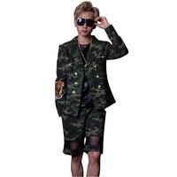 Мужской моды хип хоп Повседневное Блейзер Для мужчин двубортный камуфляжные костюмы (куртка + Шорты)