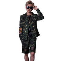 Male Fashion Hip Hop Casual Blazer Jacket Men Double breasted Camouflage Suits (jacket+shorts)