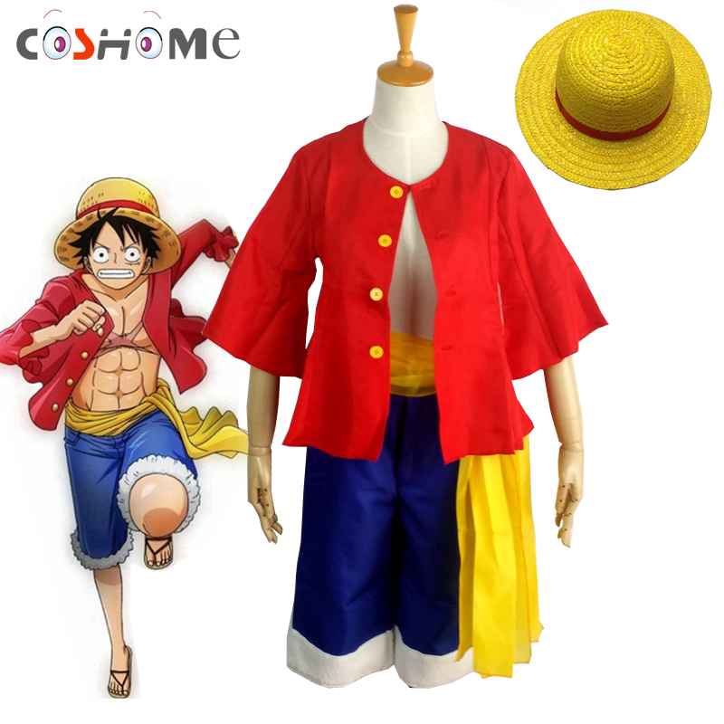 Coshome One piece Monkey D. Luffy Cosplay Costumes Shirt Pants Wigs Shoes Summer Clothing Set For Halloween Party Christmas ...