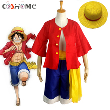 Coshome One piece Monkey D. Luffy Cosplay Costumes Shirt Pants Wigs Shoes Summer Clothing Set For Halloween Party Christmas