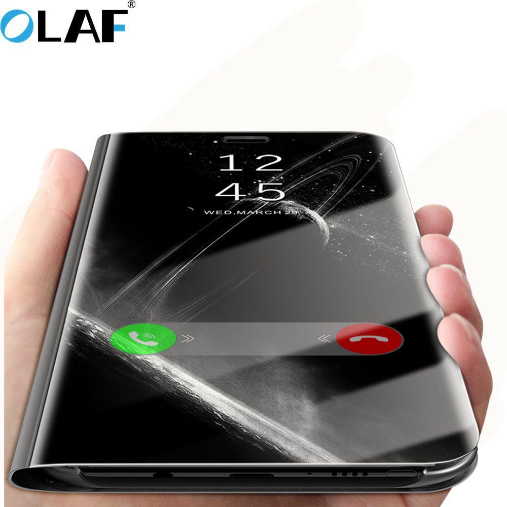 L'olaf Mode Miroir Intelligent Clair View Case Pour Samsung Galaxy Note 8 S8 S7 Bord A3 A5 A7 2017 Stand En Cuir Téléphone Housse