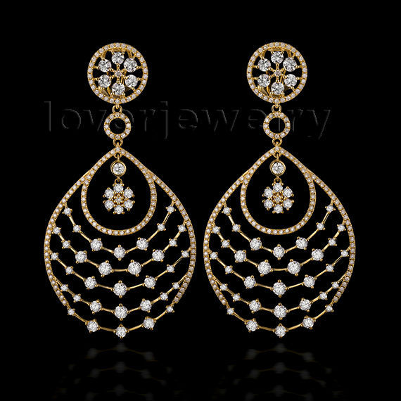 Royal & Luxury 18Kt Yellow Gold Earrings,Natural Diamond Wedding Drop Earrings For Sale WP003 кольцо royal diamond