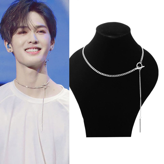 Idol Star With The Neck Necklace Men And Women Short Necklace Personality Long Chain Necklace Short Neck Chain Stainless Steel  by Onstall