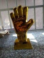 Gold Soccer Football Ball Goalkeeper Gloves Award Resin Best Goal Keeper Trophy Goalkeeper World Cup Replica