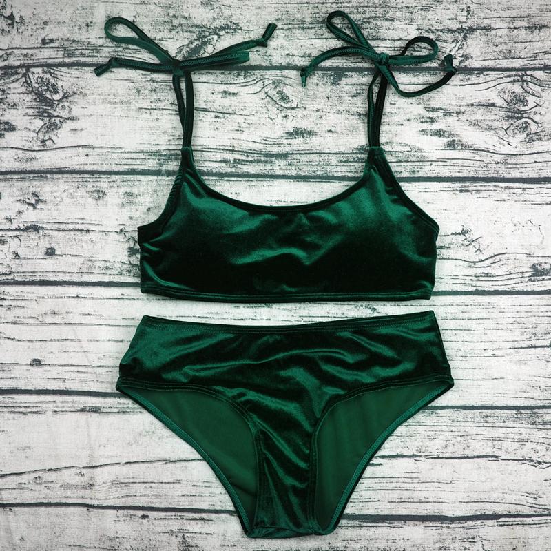 Sexy Brazilian Bikini 17 Blue Velvet Swimwear Women Swimsuit Push up Biquini Halter Bikinis Set Bathing Suit Maillot De Bain 20