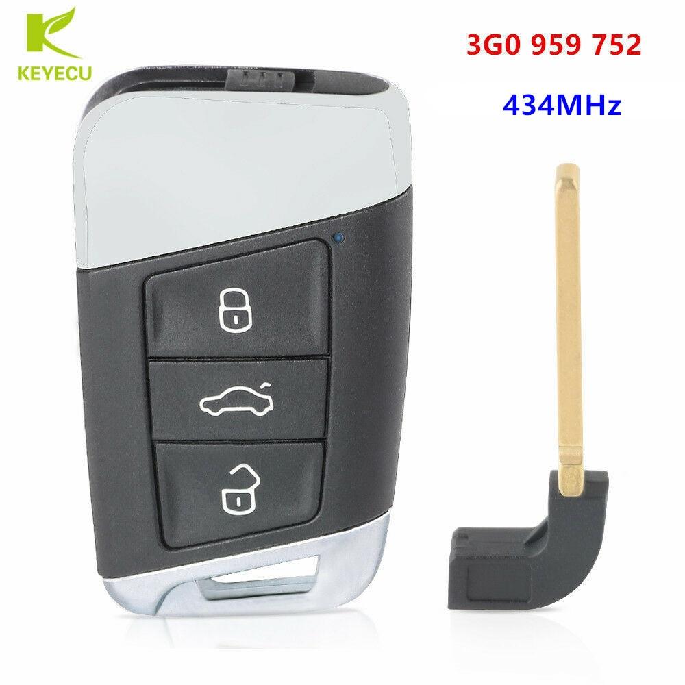 KEYECU Replacement MQB Intelligent Keyless Smart Remote Key 434Mhz with ID48 Chip for Volkswagen Passat B8