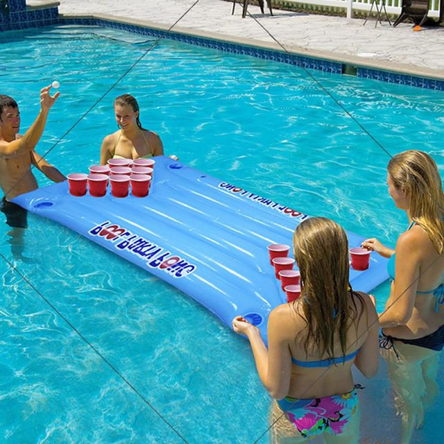 Economical PVC Inflatable Beer Pong Table Mattress Lounge Pool Float 24 Cup Holder for Summer ds99 1