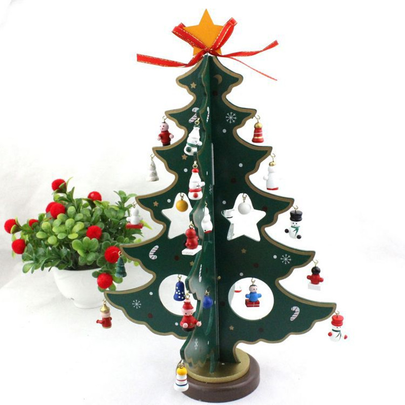 Christmas Tree Toys Handmade.Us 14 91 25 Off Hot Sale 31 25cm Christmas Cute Wood Tree Toy Assemblage Wooden Toys Ornaments Handmade Trees Gifts Hotel Adornments On Table In