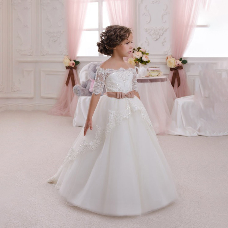 new Baby Girls Princess Kids Pageant Dresses Back  Bow Girls Dress Birthday Bridesmaid Holidy Ball Gown Wedding Party Dress