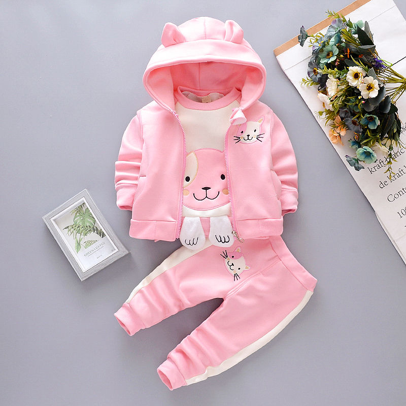 Newborn Girls clothing Set Autumn Cotton Tracksuit For baby sets kids Vest outfit Cartoon Hoodies Sport Wear Suit Spring Clothes
