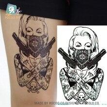 MC708 19X12cm HD Large Tattoo Sticker Body Art Sexy Assassin Women Gun Temporary Tattoo Terrorist Stickers Flash Taty Tatoo
