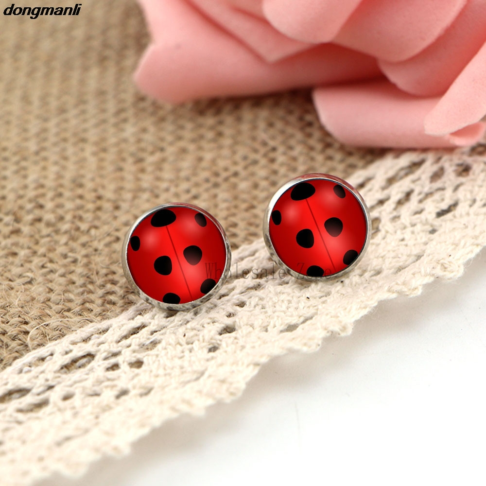 WS1688 imeline ladybug kõrvarõngad klaas ring loomade kõrvarõngad tüdrukutele kass noir imeline ladybug anime ehted