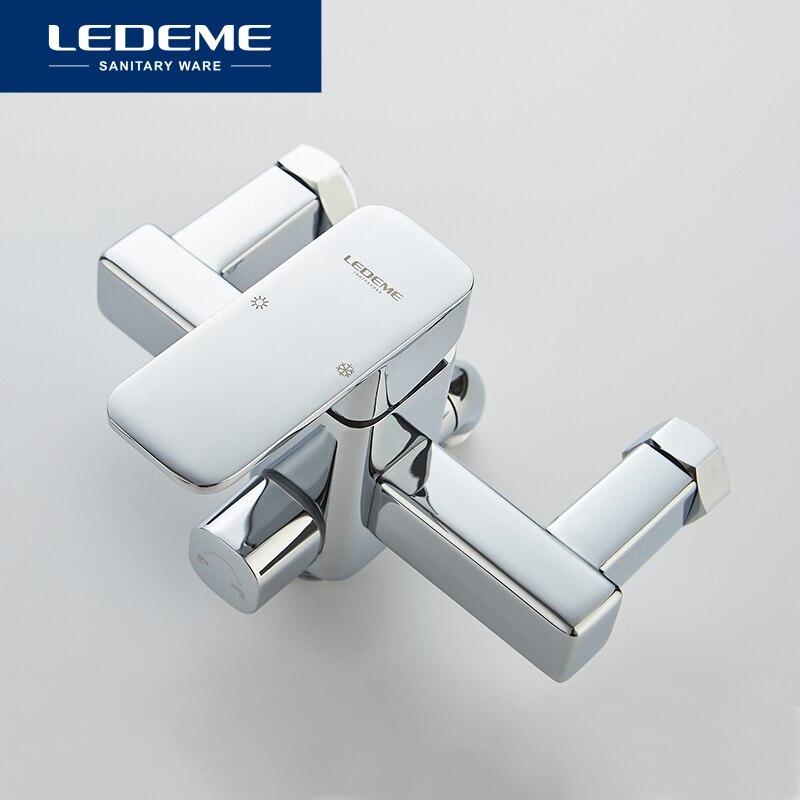 LEDEME ensemble de robinet de douche salle de bain en laiton baignoire robinet de douche robinet de douche chromé robinet mitigeur mural L2233 - 3