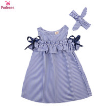 Pudcoco Anak-anak Balita Bayi Gadis Gaun Ruffles Striped Off Bahu Gaun Formal Gaun Tutu Gaun Stripe Gaun untuk Pesta(China)