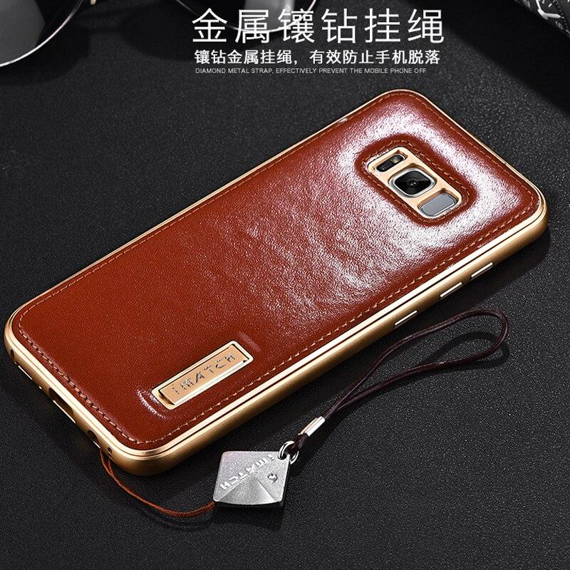 bilder für Original iMatch Fall Für Samsung Galaxy S8 S8 Plus Luxus echtes Leder Phone Cases Taschen Aluminum Bumper Rückseite fall