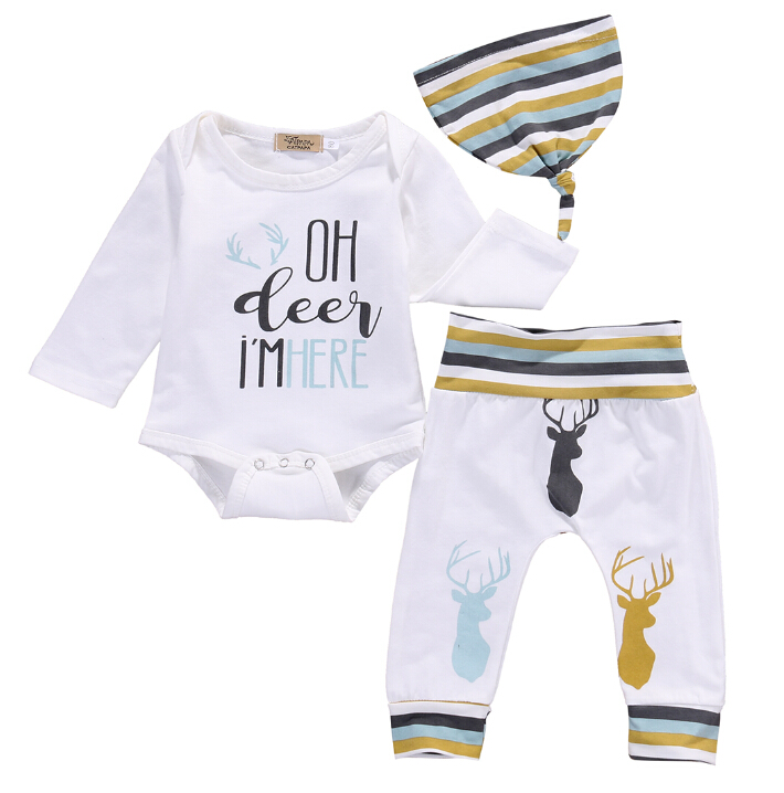 Top Romper Cotton Long Pants Hat 3PCS Striped Baby Girl Clothing Outfits Set Newborn Baby Boys Girls Clothes Set 3pcs baby boy clothing set newborn baby girls clothes i ll eat you up i love you so rompers pants hat toddle outfits