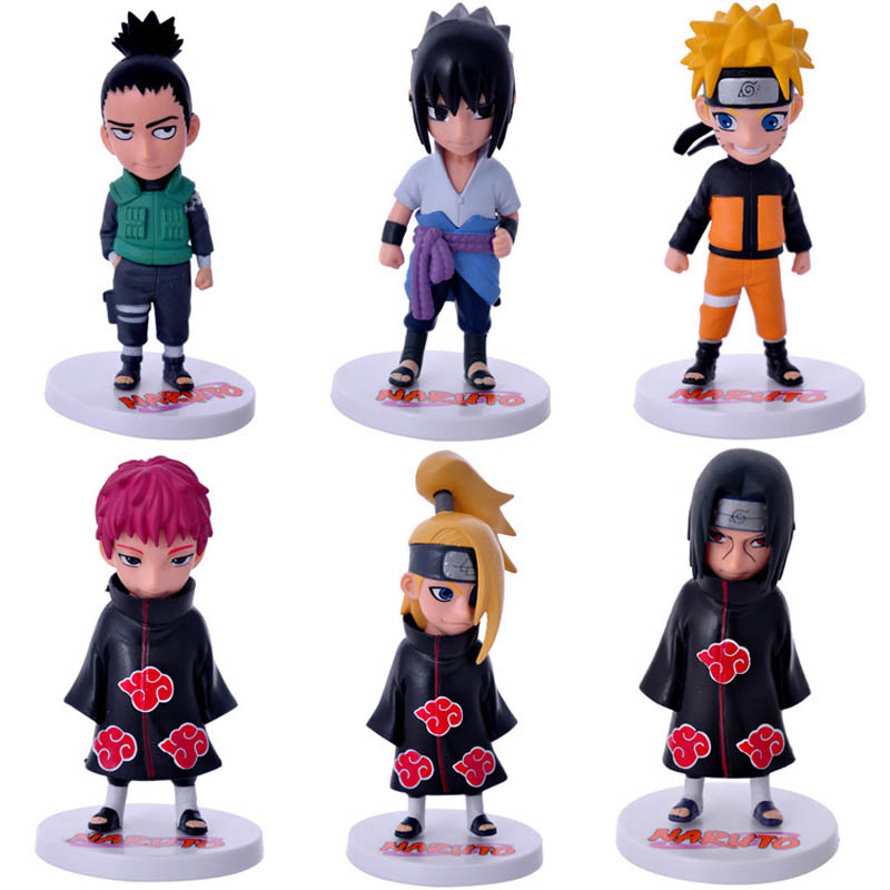 6pcs/set Anime Naruto Sasuke Shikamaru Sasori Deidara Itachi Uzumaki Naruto PVC Figure Action Figures Toys Collectible Model Toy 6pcs lot 7cm naruto action figure set q edition toy naruto japan anime figures model toy set action toys