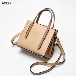 AOEO Women Handbags Shoulder Top-handle Bags Girl Vintage Split Leather High Quality Ladies Boston Large Messenger Bag Female