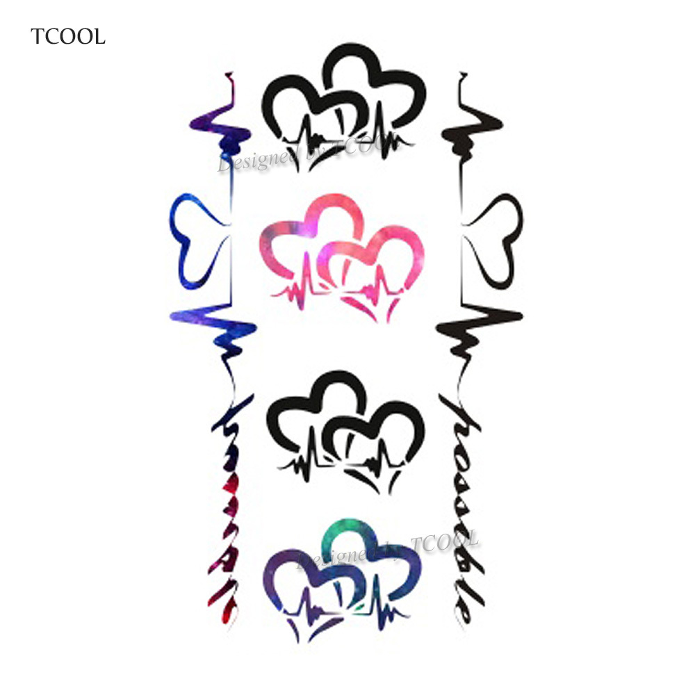 HXMAN Cardiogram Temporary Tattoos Waterproof Women Fashion Fake Body Art Arm Tattoo Sticker 10.5X6cm Kids Hand Tatoo AB-014
