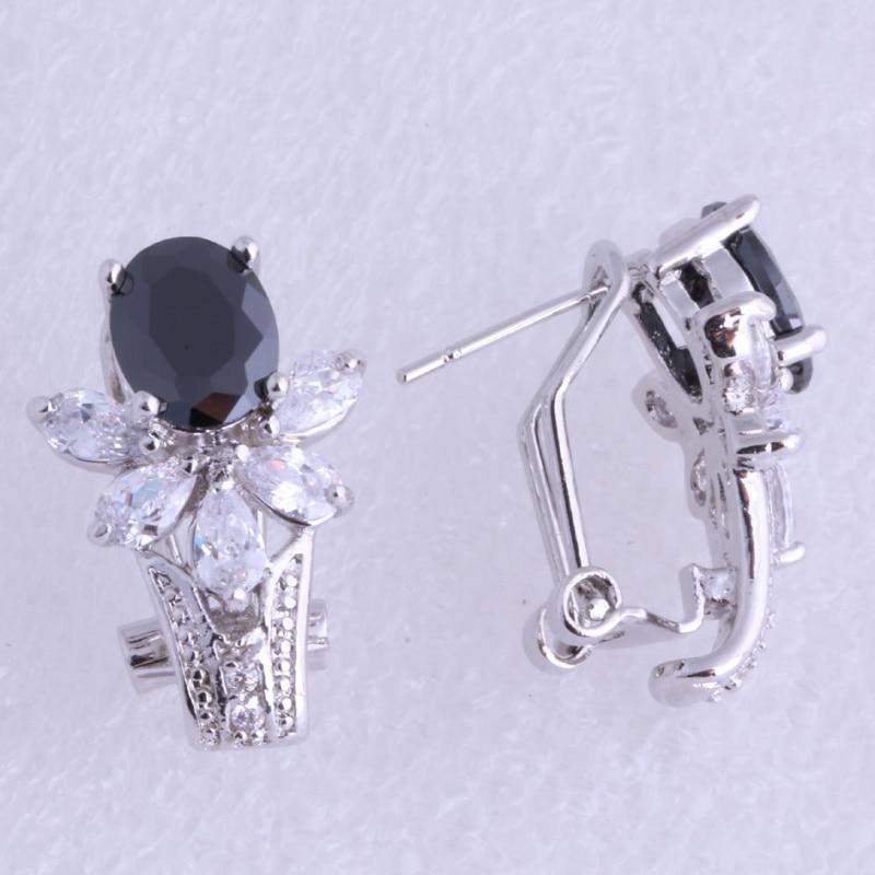 Láska monolog nejvyšší kvality květinový styl černá imitace Onyx bílá krychlový zirkony stříbrná barva klip náušnice J0554 doprava zdarma