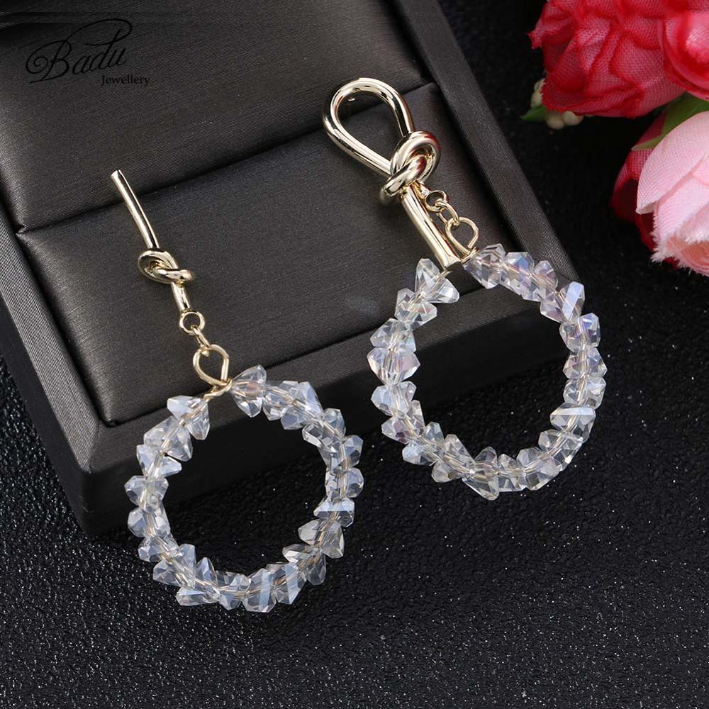 Badu Transparent Crystal Women Round Drop Earrings Geometric Charm Shiny Rhinestone Big Dangle Earrings Wholesale Jewelry Gift in Drop Earrings from Jewelry Accessories