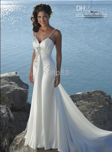 New Y Slinky Beach Wedding Dress Deep V Lace Up