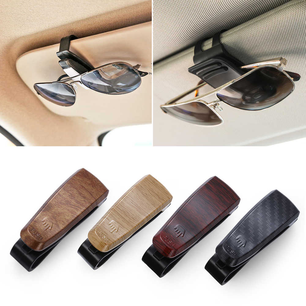 1Pc Wood Grain Glasses Case Atuo Car Accessories ABS Sunglasses Eyeglasses Glasses Holder Auto Fastener Ticket Clip