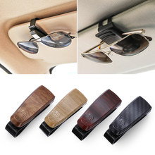 1pc grão de madeira óculos caso atuo acessórios do carro abs óculos de sol titular auto fixador clipe bilhete