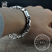 100% S925 Thai Silver Chain Charms Bangles 925 Sterling Silver Jewelry Buddha Bracelets for Women Wristband Men Vintage