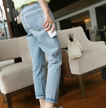 2014 New fashion baggy boyfriend jeans High Street Mid Waist casual Blue jeans Denim pants for women