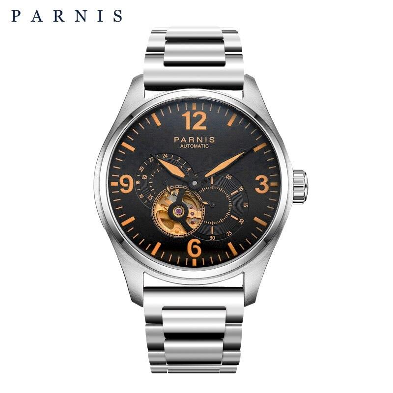 2017 выпуск мужские часы Parnis Скелет автоматические часы золото 21 драгоценный камень Desinger механические часы движение желтый светящиеся марке